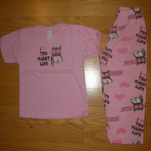 2 SET KIDS 2PC PINK T-SHIRT/PANTS PAJAMA SET S-M-L